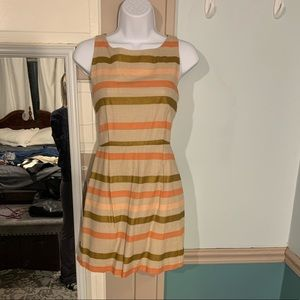 Neutral toned spring dress with stripes